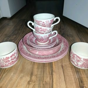 13 pc Set Churchill Willow Rosa Pink Red Made In E